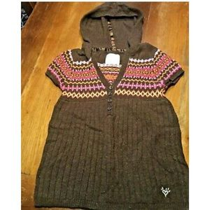 Justice Girls Brown Hooded Sweater Fair Isle Sz 10
